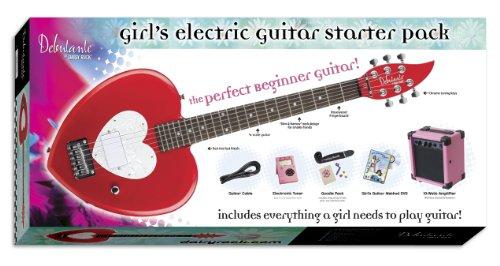 Daisy Rock Debutante Heartbreaker Short Scale Electric Guitar Starter Pack, Red Hot Red ()