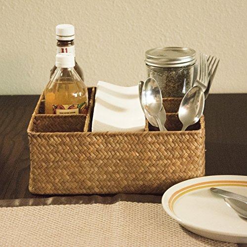 Seagrass Desktop Organizer Basket / Tea Bags and Condiment Storage Holder, Brown Condiment Basket