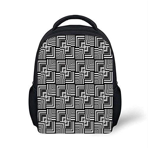 Black and White Stylish Backpack,Geometric Op Art Pattern Unusual Checked Optical Illusion Effect Modern Decorative for School Travel,9.4
