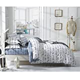 S Hotel Collection Silky Soft Top Quality Premium Bedding Collection, Printed Letters Pattern Duvet Cover Set-Wrinkle & Fade Resistant -3pc