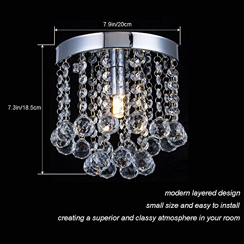 Chandelier Crystal Lighting,Modern Flush Mount Ceiling Light,Rain Drop Pendant Ceiling Lamp for Hallway Suitable for Dining Room,Banquet Hall H7.3 X W7.9 by Floodoor (Image #2)