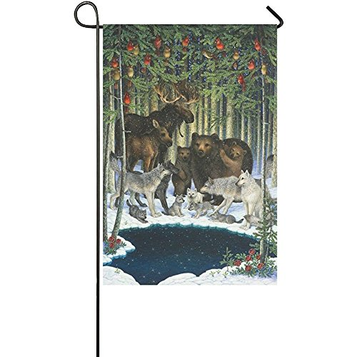 Starclevel Winter Forest Moose Bear and Wolf Polyester Garde