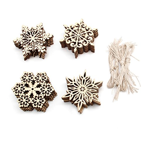 - Feamos Wood Snowflake Embellishments for Christmas Tree Decor Gift Pack of 40