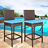 ZENY Set of 2 Wicker Barstool All Weather Dining Chairs Outdoor Patio Furniture Bar Stool Brown with Cushions (2)