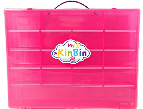 Pink Storage Container, Organizer For Shopkins - My Kin Bin - Fits Over 200 Characters, Many Shopping Bags & Up to 24 Shopping Baskets - Pink Case with a Purple Handle