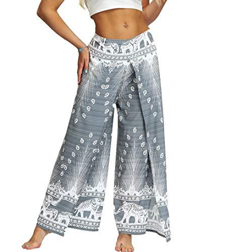MsAnya Womens Palazzo Slit Wide Leg Pants Summer Casual Beach Boho Hippie Bohemian Pilate Plus Size 10-18 (Peacock Light, S/M(Waist=29-34