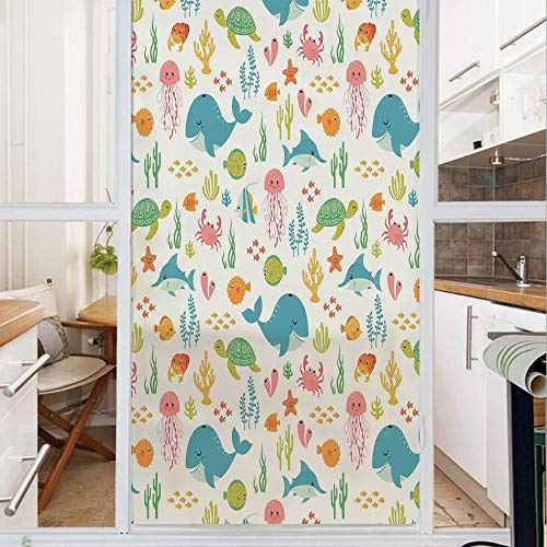 Decorative Window Film,No Glue Frosted Privacy Film,Stained Glass Door Film,Underwater Animals Aqua Marine Life with Crabs Sea Stars Fish Illustration,for Home & Office,23.6In. by 59In Teal Green Yell