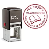 Red Ink, Custom Self Inking Stamp, Teacher From the Classroom Of Library, Book Read it Love It Return It Personalized Round 3 Lines Customized Personal