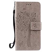 SZYT Phone Case for LG X Power K210 / K6P, Imprint Pattern Cat and Tree with Black Handle Gray