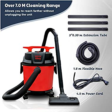Inalsa Ultra WD10 Wet & Dry Vacuum Cleaner-1000W with 3in1 Multifunction Wet/Dry/Blowing  14KPA Suction and Impact Resistant Polymer Tank,(Red/Black) 14