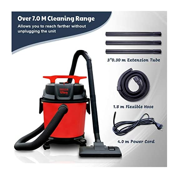 Inalsa Ultra WD10 Wet & Dry Vacuum Cleaner-1000W with 3in1 Multifunction Wet/Dry/Blowing  14KPA Suction and Impact Resistant Polymer Tank,(Red/Black) 7