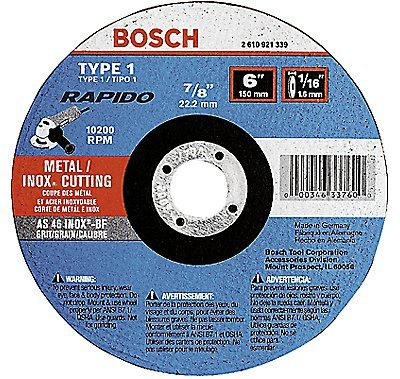 Bosch TCW1S450 Type 1 Thin Cutting Disc, 4-1/2''x.040''x7/8'' (100 - Pack)
