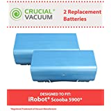 2 Long Lasting Rechargeable 14.4v, 3500mAh Batteries for most iRobot Scooba Series Vacuums; Compare to iRobot Part No. 5900; Designed & Engineered by Crucial Vacuum