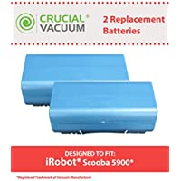 2 Replacements for iRobot 14.4v, 3500mAh Batteries Fit Scooba Series, Compatible With Part # 5900, Long Lasting & Rechargeable, by Think Crucial