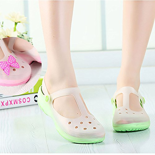 Womens Summer Color Changing Style TPU + EVA Garden Clog Shoes Casual Sandals Hiking Beach Clogs Slip-on Slippers With Backstrap + Free Decoration Gift Random
