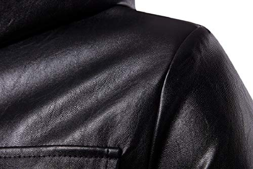 Sleeved Hoodie Coats 1 Leather Long Mogogo with Men's Trench Zips Thick Coat tqEp0