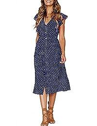 CLOUSPO Summer Dresses for Women Casual Button Polka Dot Sleeveless V Neck Swing