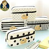 1 Piece/lot New Large Canvas Stripe Dots Cute School Pencil Case for Girls Children Pen Bag Pencilcase Pouch