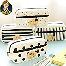 1 Piece/lot New Large Canvas Stripe Dots Cute School Pencil Case for Girls Children Pen Bag Pencilcase Pouch