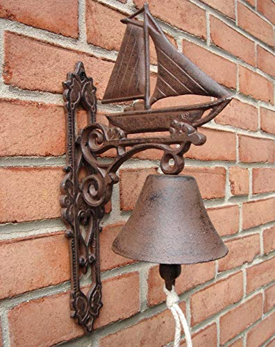 ROX Luxury House Metal Wall Mount Sailboat Call Bell Sailing Ship Sail Boat Porch/Home/Door Decor
