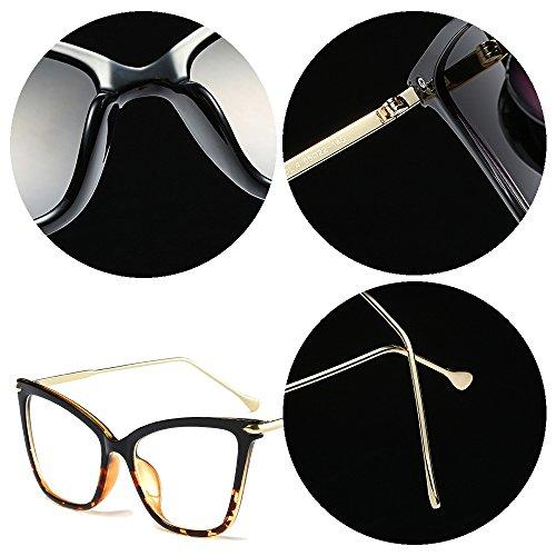 leopardo BOZEVON Sol Gafas Clásico Negro Moda Ojo Oversize Fiesta de Gafas Transparente Transparente Gato Retro de Mujer qxRB1SqZ