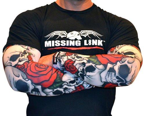 Missing Link SPF 50 Bones N Roses ArmPro (Black/Red/White, Large)