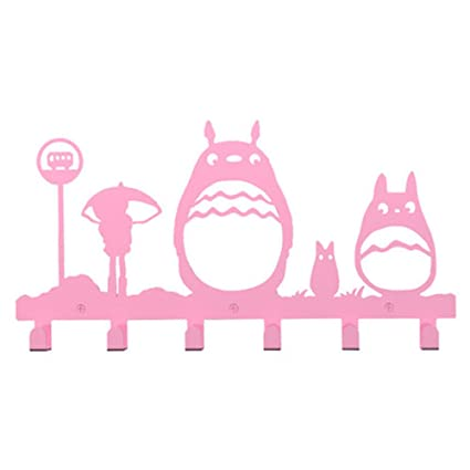 yournelo rosa Metal Totoro perchero de pared de 6 ganchos ...