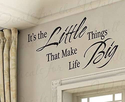 Wall Decal Letters It's the Little Things That Make Life Big-Inspirational Motivational Inspiring Family Kids-Vinyl Quote Saying Sticker Art Bedroom (Big Thing Decals)