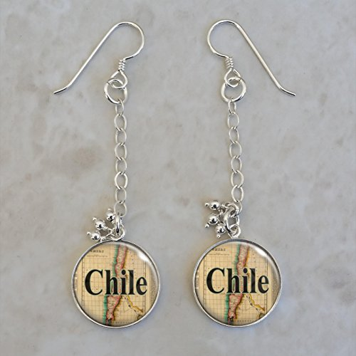 (Chile 1822 Map Sterling Silver Earrings)