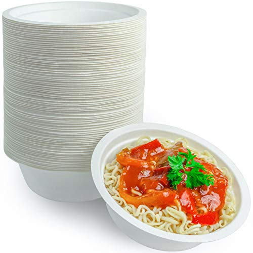 Disposable Soup Bowls 12 Ounce Paper Plastic Alternative 100 Pack Eco-Friendly Compostable Dinnerware Biodegradable and Recyclable Heavy Duty - Made of Sugarcane Bagasse