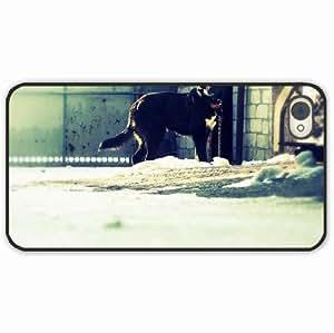 iPhone 4 4S Black Hardshell Case dog black Desin Images Protector Back Cover