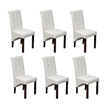 vidaXL 6x Sillas de Salón Comedor de Cuero Artificial Blanco ...