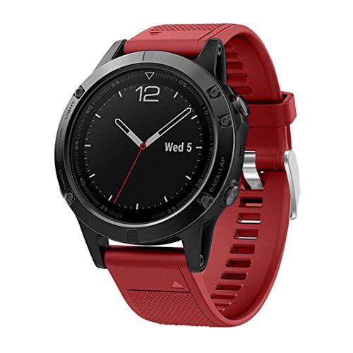 VESNIBA Replacement Silicagel Quick Install Soft Band Strap For Garmin Fenix 5 GPS Watch (Red) For Sale