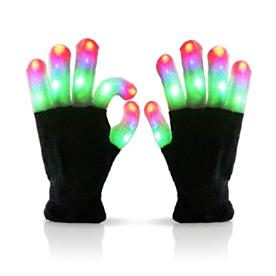 Luwint LED Colorful Flashing Finger Lighting Gloves Led Gloves with Extra Batteries: Home Improvement