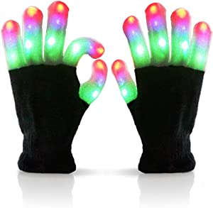 Luwint Children LED Finger Light Up Gloves - Amazing Colorful Glow Flashing Novelty Toys for Kids with Extra Batteries
