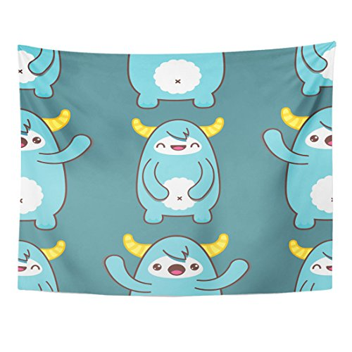 Breezat Tapestry Kawaii Cartoon Yeti Alien Ancients Animal Bizarre Home Decor Wall Hanging for Living Room Bedroom Dorm 60x80 (Face Painting Ideas For Halloween Devil)