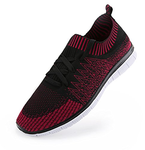 Vibdiv Mens Shoes For Running Light Weight Lace-Up Flyknit Fashion Sneakers Red