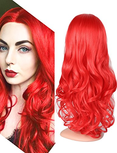 Fani Women Heat Resistant Long Curly Synthetic Wig 25Inch Middle Part Red Wave Hair Wig with Free Wig Cap (Red)
