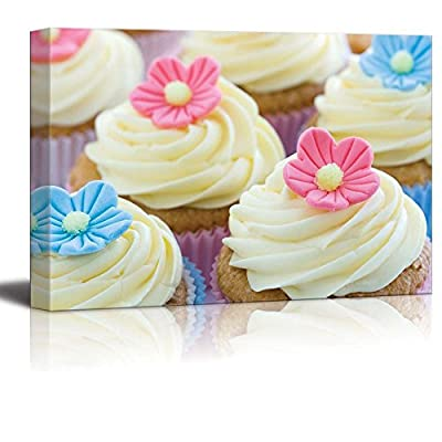 Canvas Prints Wall Art - Beautiful Colorful Cupcakes | Modern Wall Decor/Home Art Stretched Gallery Wraps Giclee Print & Wood Framed. Ready to Hang - 24