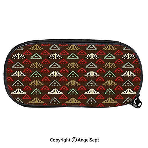 1489D Printing Pattern Pencil CaseNative American Aztec Folk Triangle Pattern Folk Style Funky Boho Tribal Art Print for Children Teenager Pen Box Pencil Pouch Desk for Boys and GirlsMulticolor