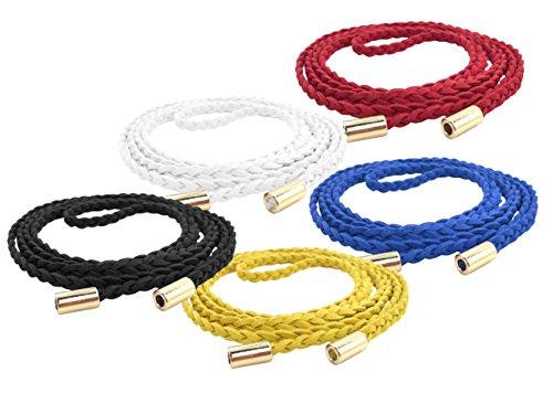 (TeeYee Women Girls Slim Waist Belt/Rope/Chain Set (63inch, Black White red Yellow Blue))