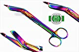 GERMAN STAINLESS LISTER BANDAGE SCISSORS 7.25'' MULTI COLOR RAINBOW COLOR STAINLESS STEEL-CYNAMED BRANDED-A+QUALITY GUARANTEED