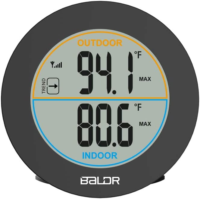 """BALDR Wireless Indoor/Outdoor Thermometer - Surface or Wall Mounted Temperature Monitor, 2.5"""" LCD Display Thermometer with Min/Max Records & Trend Arrows"""