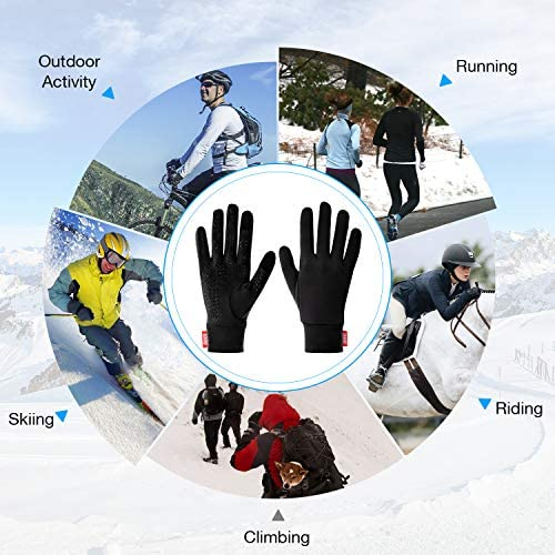 Aegend Lightweight Running Gloves Warm Gloves Mittens Liners Women Men Touch Screen Gloves Cycling Bike Sports Compression Gloves for Winter Early Spring Or Fall, 6 Colors, 3 Sizes