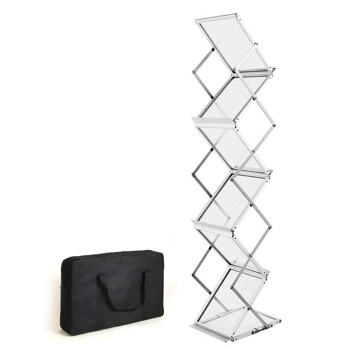 HUAZI Foldable Magazine Rack Brochure Stand Catalog Literature Rack Portable 6 Pockets with Carrying Bag for Trade Show Exhibitions Office Retail Store