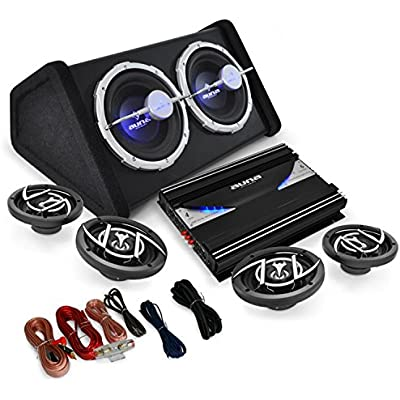 AUNA 4 1 Car Audio HiFi System  Black Line 500  Amplifier  Speaker Set  Built-In Light Effect  High-Performance  5000W  Amplifier  Speakers  Twin Subwoofer  Cables  Black