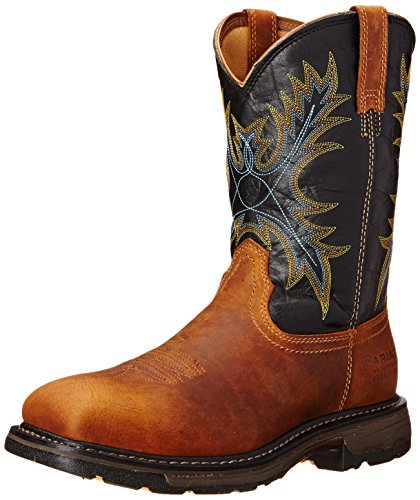 Ariat Men's Workhog Wide Square Toe H2O Steel Toe Work Boot, Aged Bark/Black, 10.5 D US