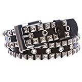 Snap On Punk Rock Silver Star Studded Grommets Leather Jean Belt, Black | l