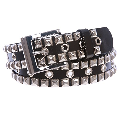 [Snap On Punk Rock Silver Star Studded Grommets Leather Jean Belt, Black | m] (Stud Studded Black Belt)