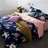 Print Floral 4 Piece Bed Sheet Set Durable Egyptian Cotton Satin Duvet Cover Flat Sheets Pillowcases Size Full Queen , 1.5 bed quilt 200 x 230